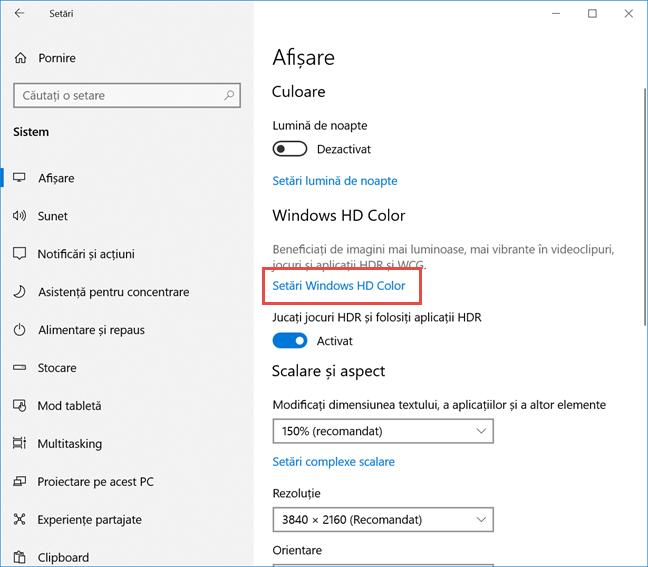 Apasă pe setările Windows HD color