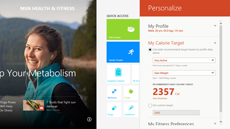 Windows 8.1, Sanatate si Fitnes, aplicatie