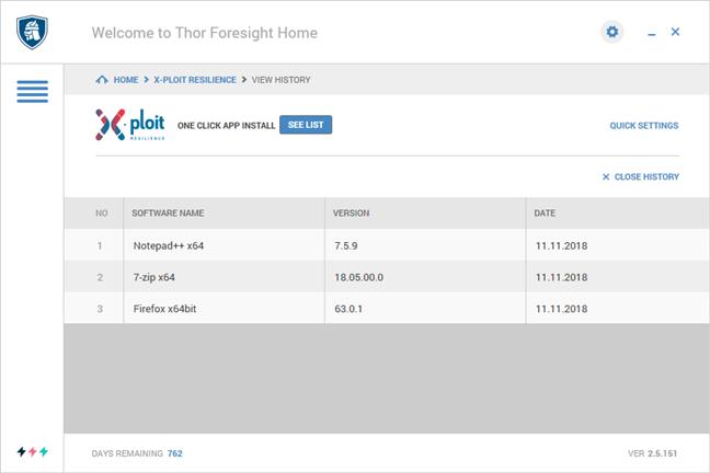 O listă cu aplicații care au fost actualizate automat de Thor Foresight