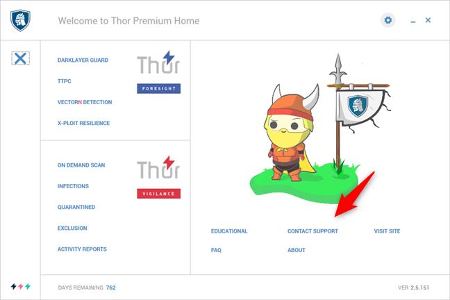 Opțiunile de suport disponibile în Heimdal Thor Premium Home