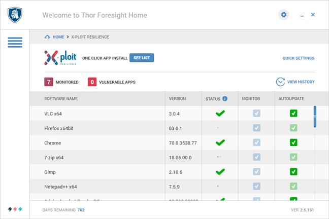 Secțiunea X-ploit Resilience din Heimdal Thor Premium Home