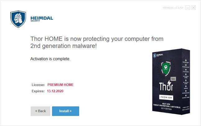 Finalul expertului de instalare pentru Heimdal Thor Premium Home