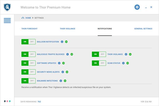 Setările de notificări din Heimdal Thor Premium Home
