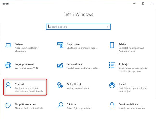 Setările Windows 10 - Mergi la Conturi