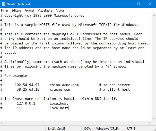 Fișierul etc/hosts din Windows