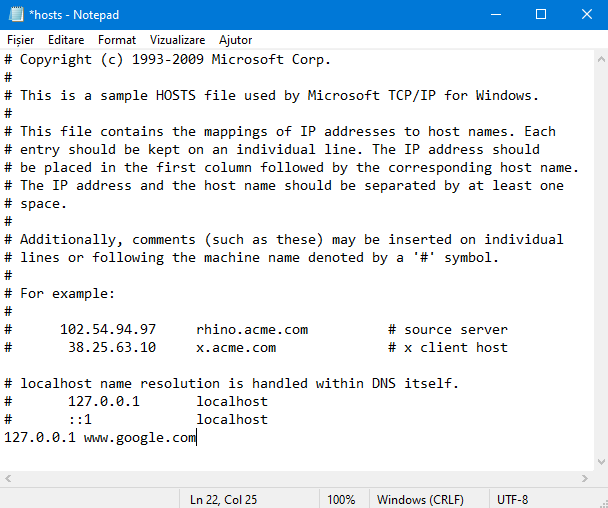 Editarea fișierului <em>Hosts</em> în Notepad