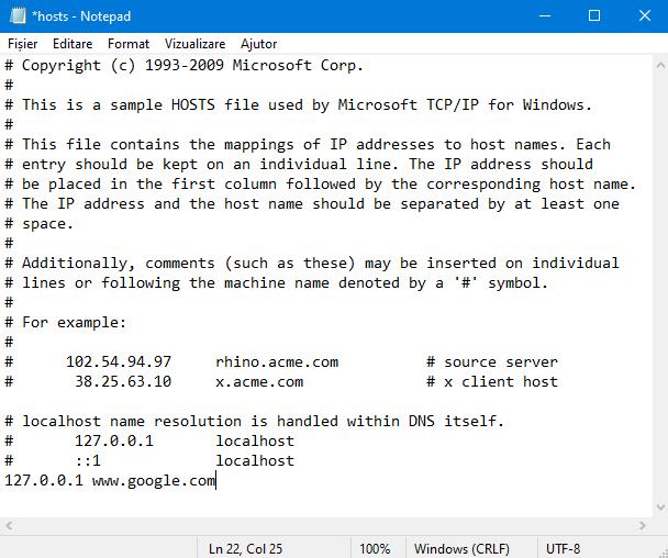 Editarea fișierului Hosts în Notepad