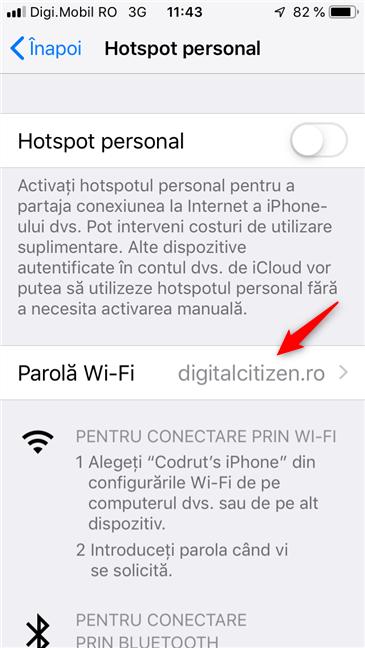 Setarea Parolă Wi-Fi pentru hotspotul personal