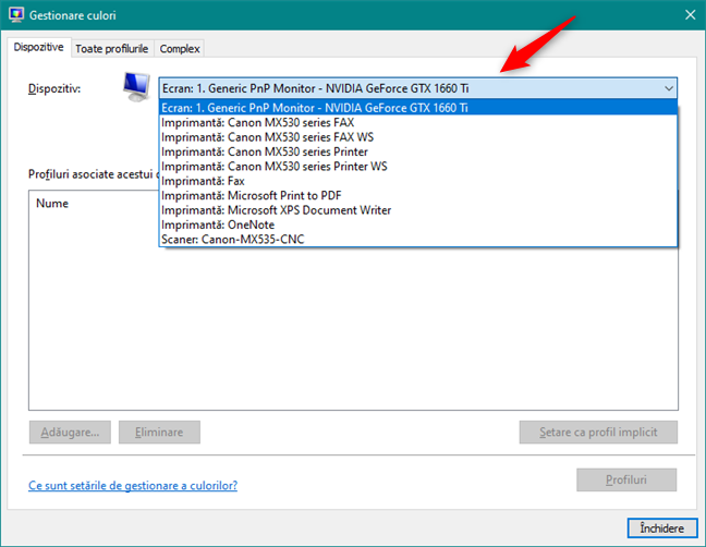 Lista de dispozitive care au profiluri de culori în Windows 10