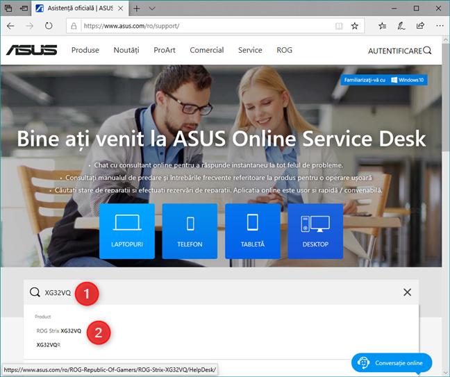 Site-ul web de suport și drivere al unui producător de monitoare