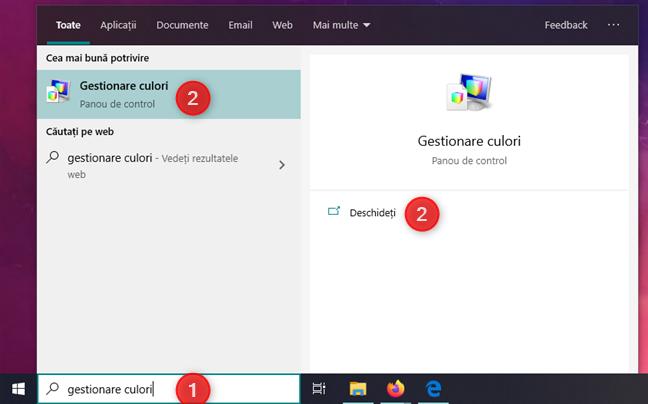 Căutarea opțiunilor Gestionare culori în Windows 10