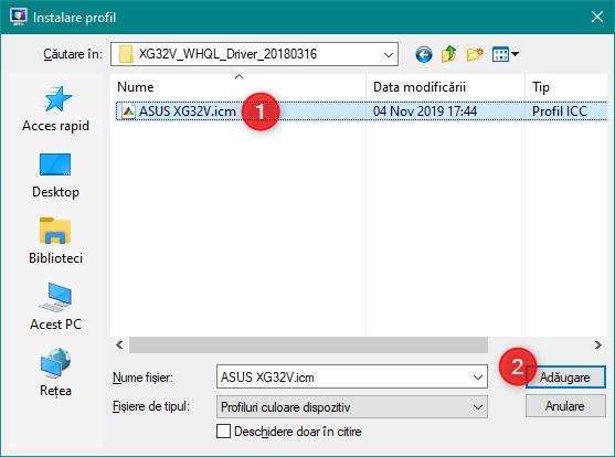 Selectarea și adăugarea unui profil nou de culori pentru un monitor