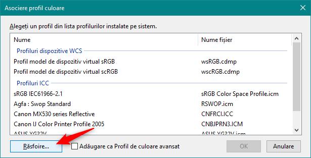 Răsfoirea prin PC pentru a localiza fișierul ICM cu profilul de culori