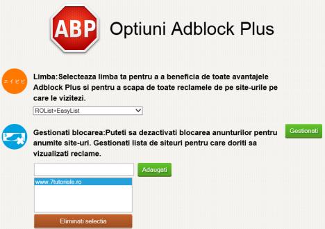 Internet Explorer, Adblock Plus, reclame, liste, filtre