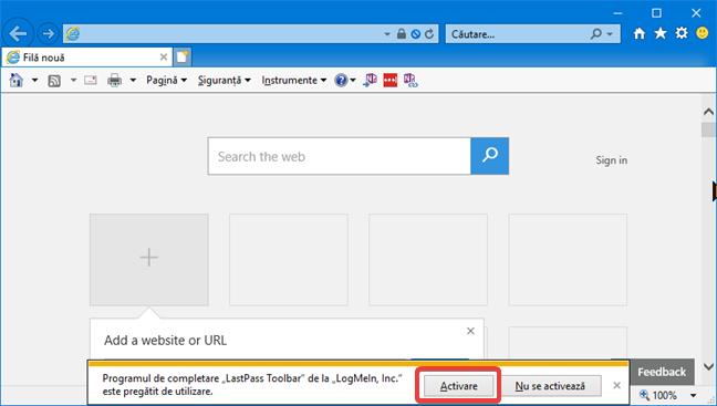 Notificare Internet Explorer pentru activarea LastPass