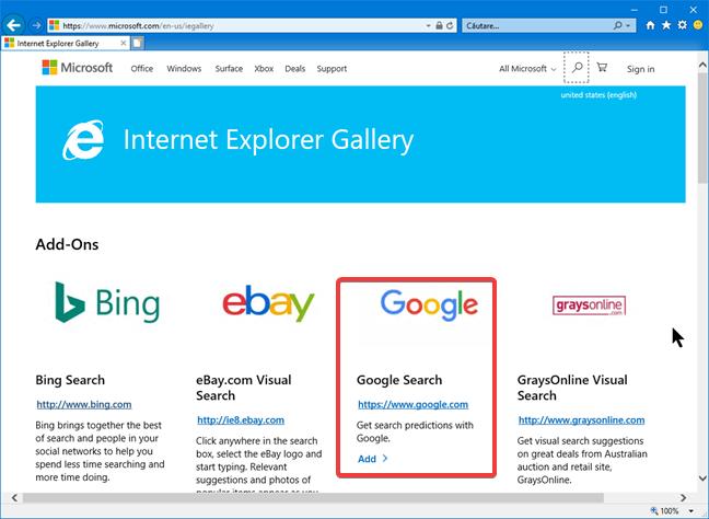 Programul de completare Google Search pentru Internet Explorer
