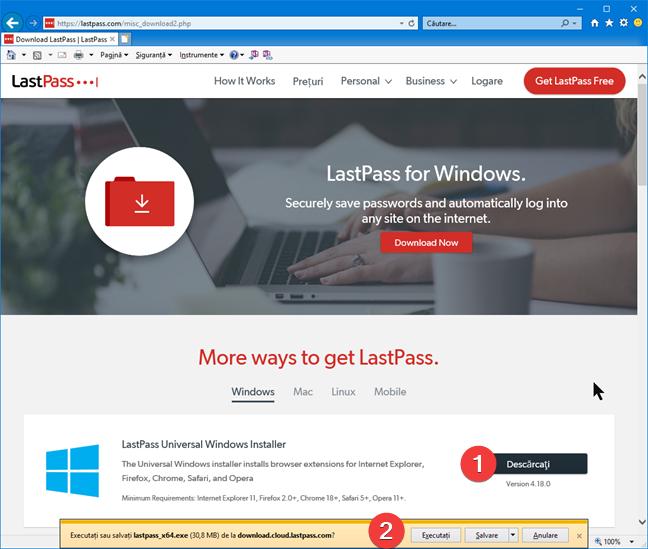 Pagina de descărcare LastPass pentru Windows și Internet Explorer