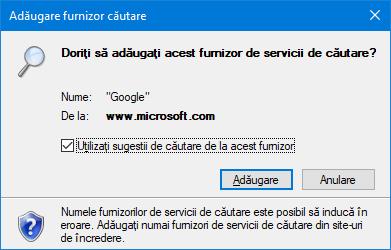 Instalarea unui furnizor de căutare în Internet Explorer
