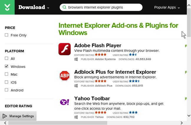 Programe de completare pentru Internet Explorer & Plugin-uri pentru Windows de la CNET