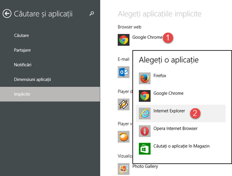 Internet Explorer 11, implicit, versiune, aplicatie, desktop, Windows 8.1
