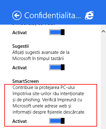 Internet Explorer, Windows 8.1, confidentialitate, setari