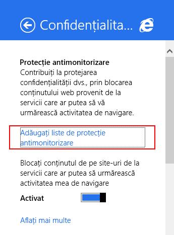 Internet Explorer, Windows 8.1, confidentialitate, setari