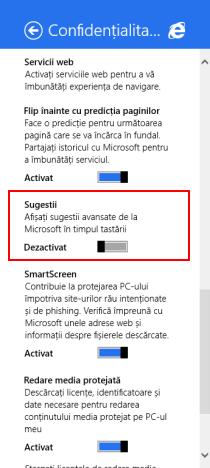 Internet Explorer 11, tactila, versiune, Windows 8.1, avansate, sugestii, activare, dezactivare