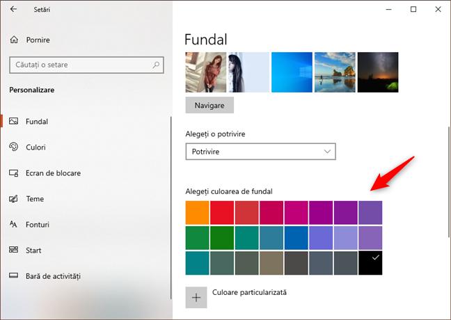 Selectarea culorii de fundal utilizate atunci când fundalul nu se potrivește pe tot ecranul
