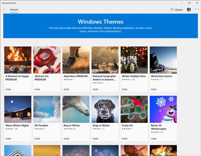 Secțiunea Teme Windows din Microsoft Store