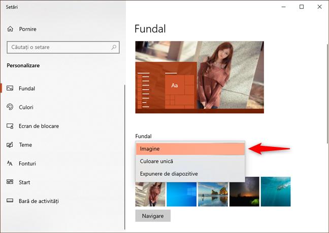 Alegerea de a folosi o Imagine ca fundal pentru desktop în Windows 10