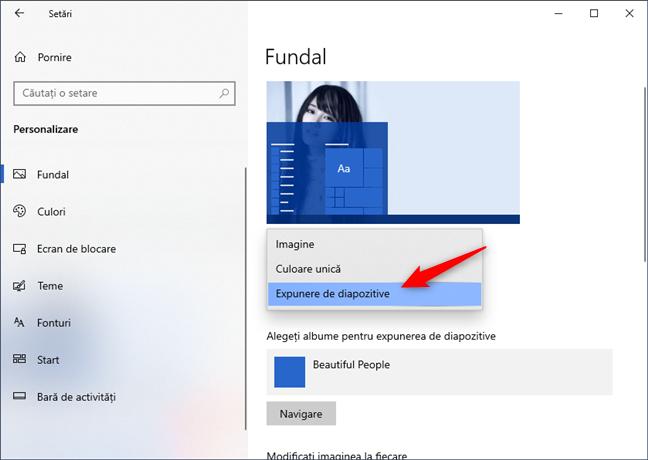 Setează fundalul desktopului pentru a folosi o Expunere de diapozitive cu multe imagini