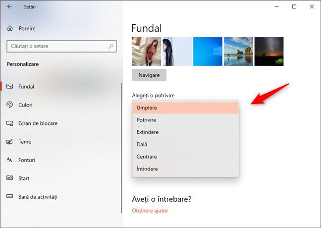 Alegerea unui tip de poziționare a fundalului de desktop din Windows 10