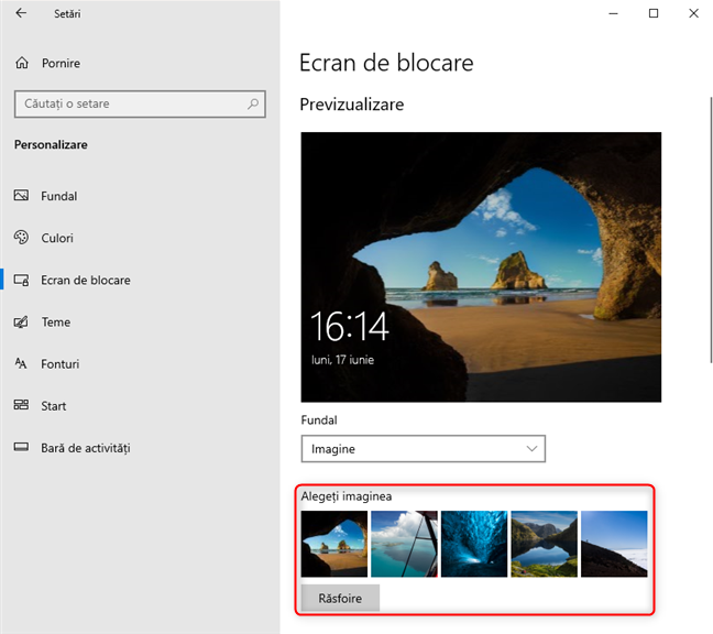 Imaginile Windows 10 folosite pentru Ecranul de blocare