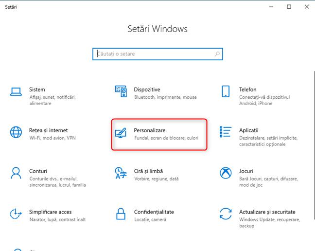 Setările Windows 10 - mergi la Personalizare