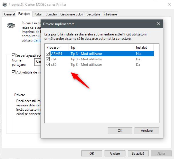 Selectarea driverele suplimentare de instalat pentru imprimanta partajată