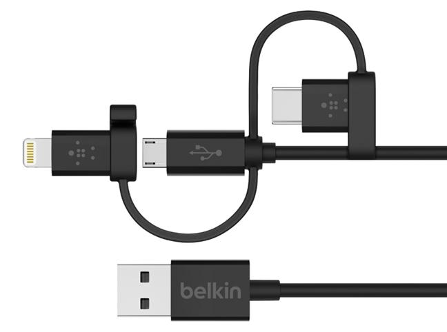 Cablu universal cu conectori Micro-USB, USB-C și Lightning, de la Belkin