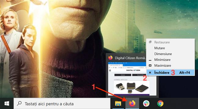 Ține cursorul deasupra unei aplicații, dă clic dreapta pe previzualizare și apasă Închidere