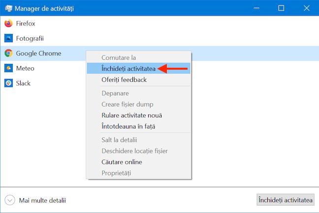 Închide aplicații cu Managerul de activități din Windows 10