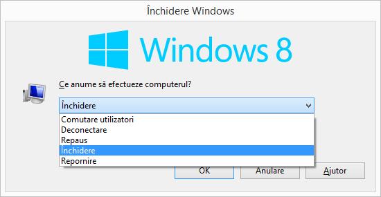 Meniul Închidere Windows în Windows 8.1