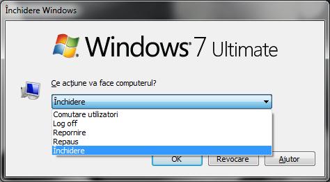 Meniul Închidere Windows în Windows 7
