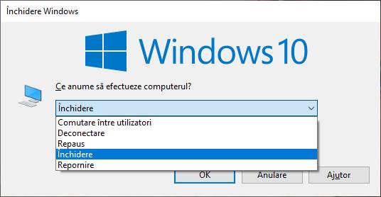 Fereastra Închidere Windows în Windows 10