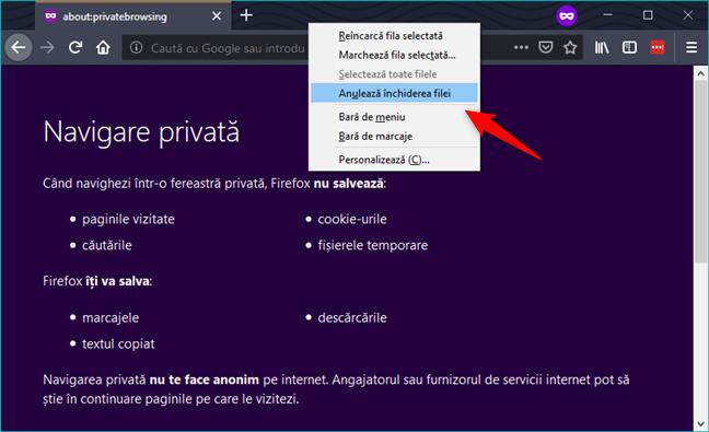 Anulare închidere filă în Firefox Private Browsing