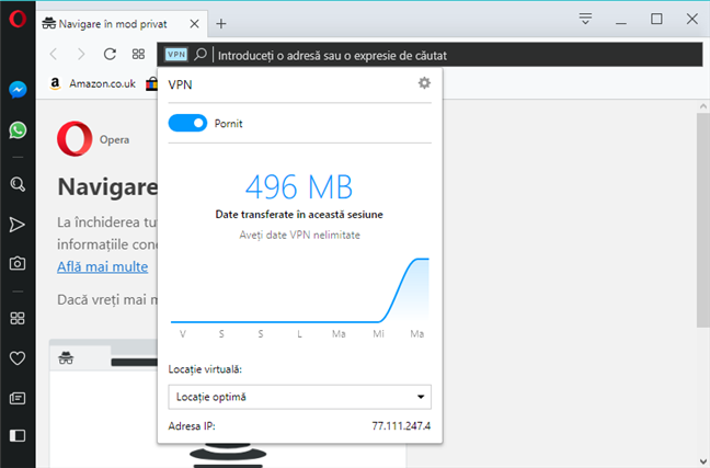 VPN activat în Opera Private browsing