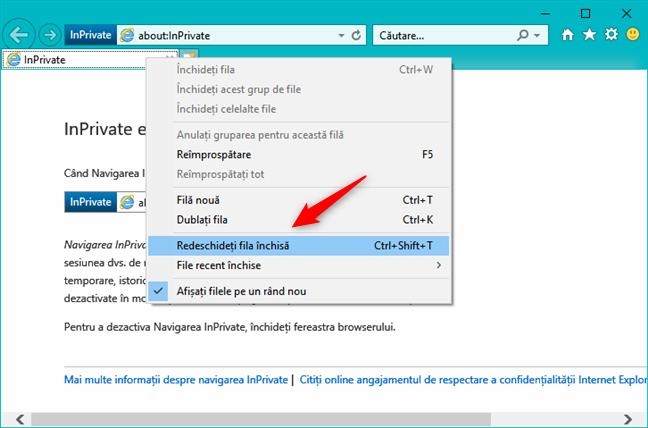 Opțiunea de redeschidere a unei file închise într-o fereastră Internet Explorer InPrivate