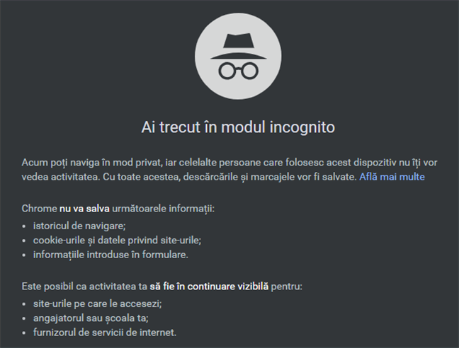Ce face modul Incognito în Google Chrome