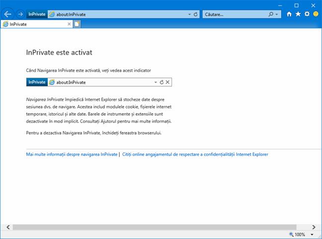 Navigare InPrivate în Internet Explorer
