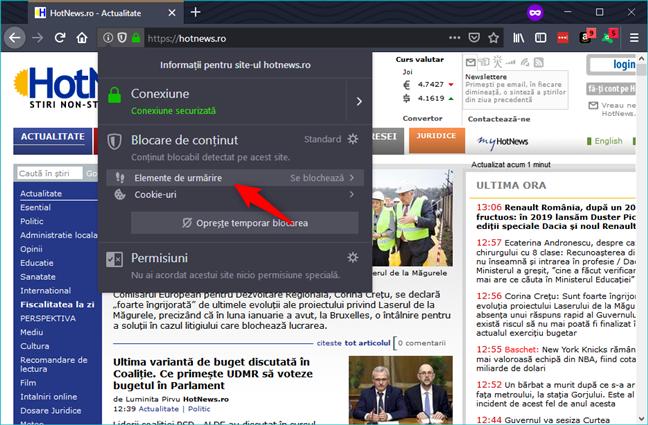 Firefox blochează tracker-ele în mod implicit, în modul de navigare privată