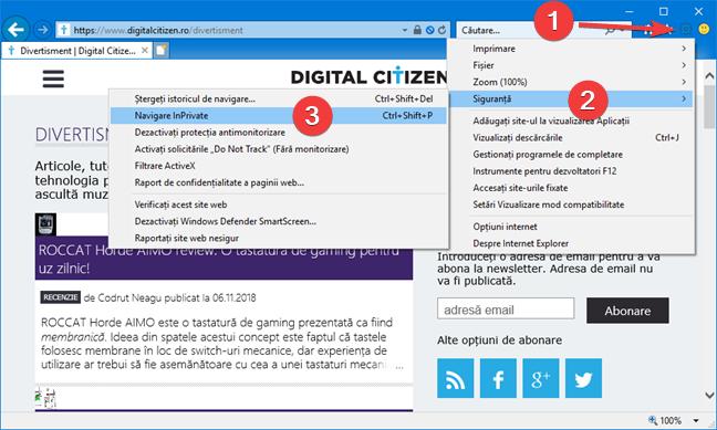 Deschide o fereastră InPrivate în Internet Explorer