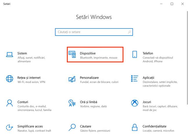 Accesează Dispozitive din aplicația Setări în Windows 10