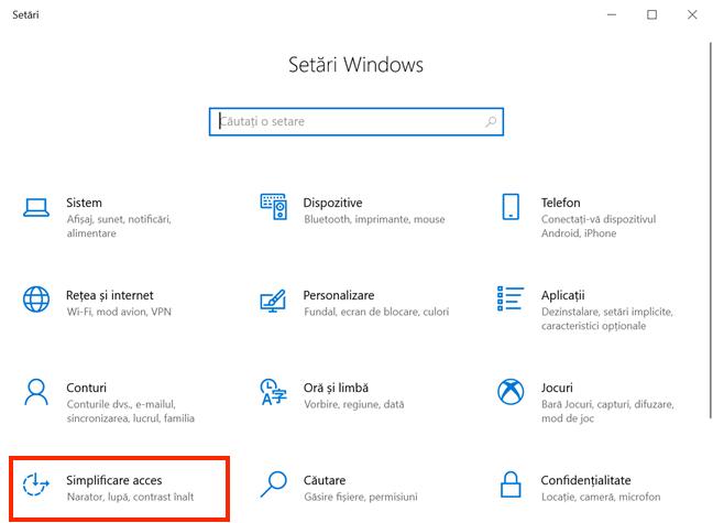 Accesează Simplificare acces din Setări Windows